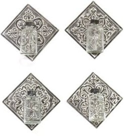 Metal Accent Tile with Hanging Glass Vase, Set of 4