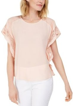 Lace-Trim Flutter-Sleeve Top, Created for Macy's