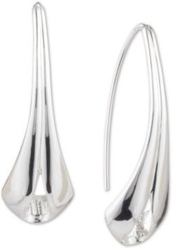Silver-Tone Polished Ribbon Threader Earrings