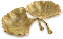 Gold Ginkgo Double Compartment Dish