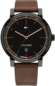 Brown Leather Strap Watch 43mm