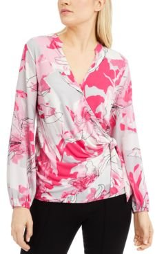 Petite Floral-Print Surplice Top, Created for Macy's