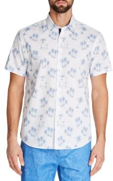 Slim-Fit Stretch Palm Tree Short Sleeve Shirt and a Free Face Mask With Purchase