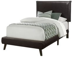Bed - Twin Size Leather-Look with Wood Legs