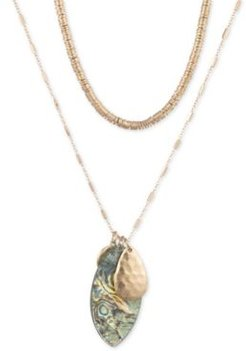 """Gold-Tone Disc & Stone 36"""" Layered Pendant Necklace"""