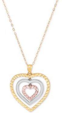 """Tricolor Graduated Heart 18"""" Pendant Necklace in 10k Yellow, White & Rose Gold"""