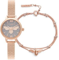 Mini Lucky Bee Rose Gold-Tone Stainless Steel Mesh Bracelet Watch 23mm Gift Set