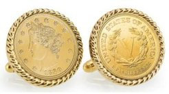Gold-Layered 1800's Liberty Nickel Rope Bezel Coin Cuff Links