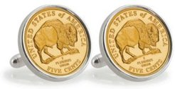 Gold-Layered 2005 Bison Nickel Sterling Silver Coin Cuff Links