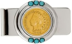 Gold-Layered 1800's Indian Penny Turquoise Coin Money Clip