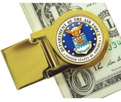 Coin Money Clip with Colorized Air Force Washington Quarter