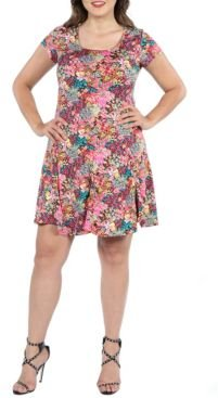 Plus Size Floral Short Sleeve Casual Dress
