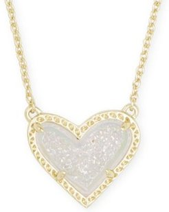 "Stone Heart Pendant Necklace, 15"" + 2"" extender"