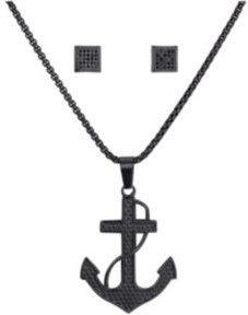 Stainless Steel Black Tone Anchor Pendant and Square Cubic Zirconia Earring Set, 24""