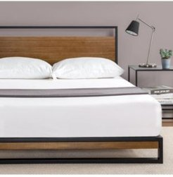 Suzanne Metal and Wood Platform Bed with Headboard, Full