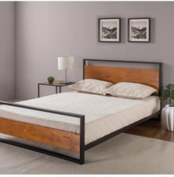Suzanne Metal and Wood Platform Bed with Headboard and Footboard, Twin