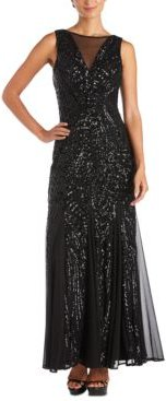 Illusion-Trim Sequin Gown