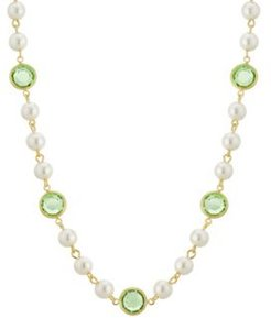 """2028 Gold-Tone Imitation Pearl with Light Green Channels 16"""" Adjustable Necklace"""