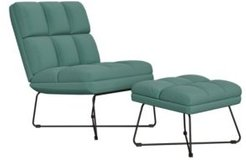 Gregor Modern Armless Chair and Ottoman Set