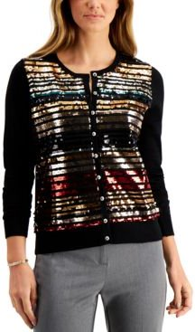 Petite Sequin-Striped Cardigan Sweater, Created for Macy's
