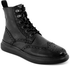Tall Perforated Wingtip Boots Men's Shoes