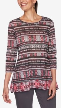 Ruby Road Women's Embellished Border Striped Top