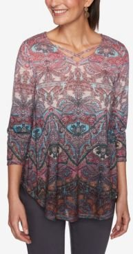 Ruby Road Women's Ombre Baroque Paisley Print Top
