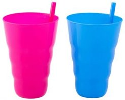 Vintiquewise 20 Oz Reusable Plastic Cups with Straw, Set of 2