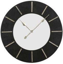Large Round Wood Wall Clock with Faux Leather Border and Detail