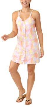 Juniors' Leaf-Print Button-Front Cover-Up, Created for Macy's Women's Swimsuit