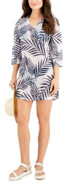 Leaf Printed V-Neck Cover-Up Tunic Women's Swimsuit