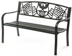 Steel Outdoor Patio Garden Park Bench with Cast Iron American Flag Backrest