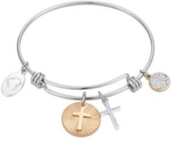Two-Tone Crystal Cross Bangle Bracelet in Stainless Steel with Silver Plated Charms