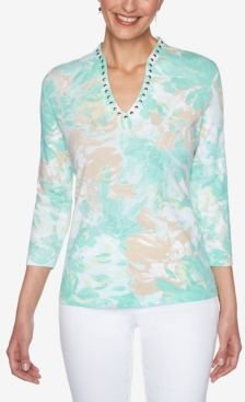 Petite Knit Embellished Blossoms Top