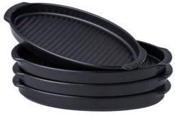 Matte Glaze Baking Dish, Dinner Plates, Roasting Grill Pan with Handles Oval Dish, Set of 4