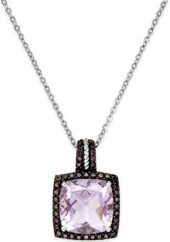 Pink Amethyst (12mm) and Swarovski Zirconia Pendant Necklace in Sterling Silver