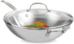 """Chef's Classic Stainless Steel 14"""" Covered Stir Fry"""
