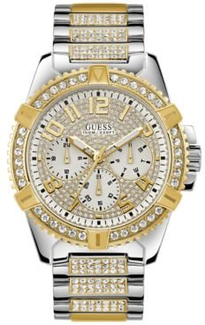 Pave Crystal-Set Two-Tone Stainless Steel Bracelet Watch 50mm