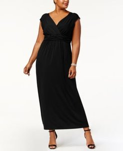 Plus Size Ruched Empire Maxi Dress