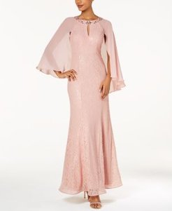 Sequined Cape Gown