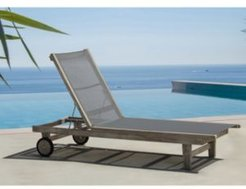 Driftwood Teak Contemporary Deck Side Outdoor Sling Lounge Chair