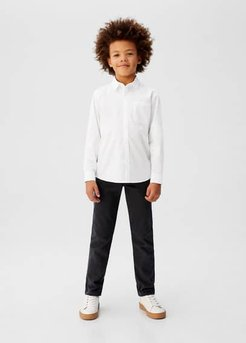 Chest-pocket cotton shirt white - 13-14 years - Kids