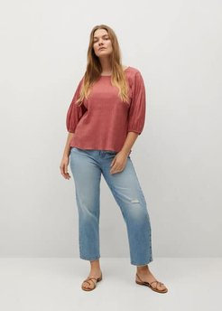 Textured cotton blouse coral red - 16 - Plus sizes