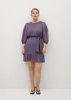 Printed dress with balloon sleeves  lilac - 14 - Plus sizes