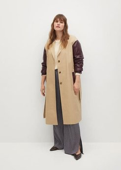 Combined leather-effect trench coat beige - M - Plus sizes