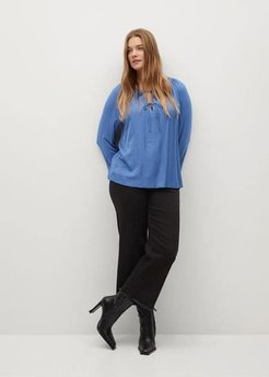 Long-sleeved t-shirt with bows blue - XXL - Plus sizes