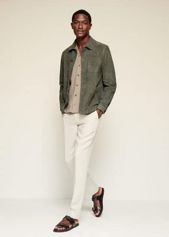 Suede overshirt with pockets khaki - S - Men