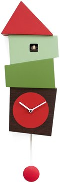 Crooked Wall Clock - Red & Green