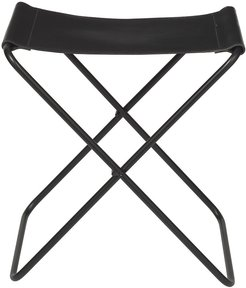 Nola Stool - Leather/Iron - Black