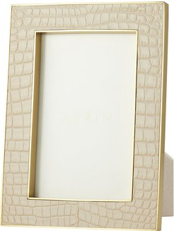 """Classic Croc Leather Photo Frame - Fawn - 4x6"""""""